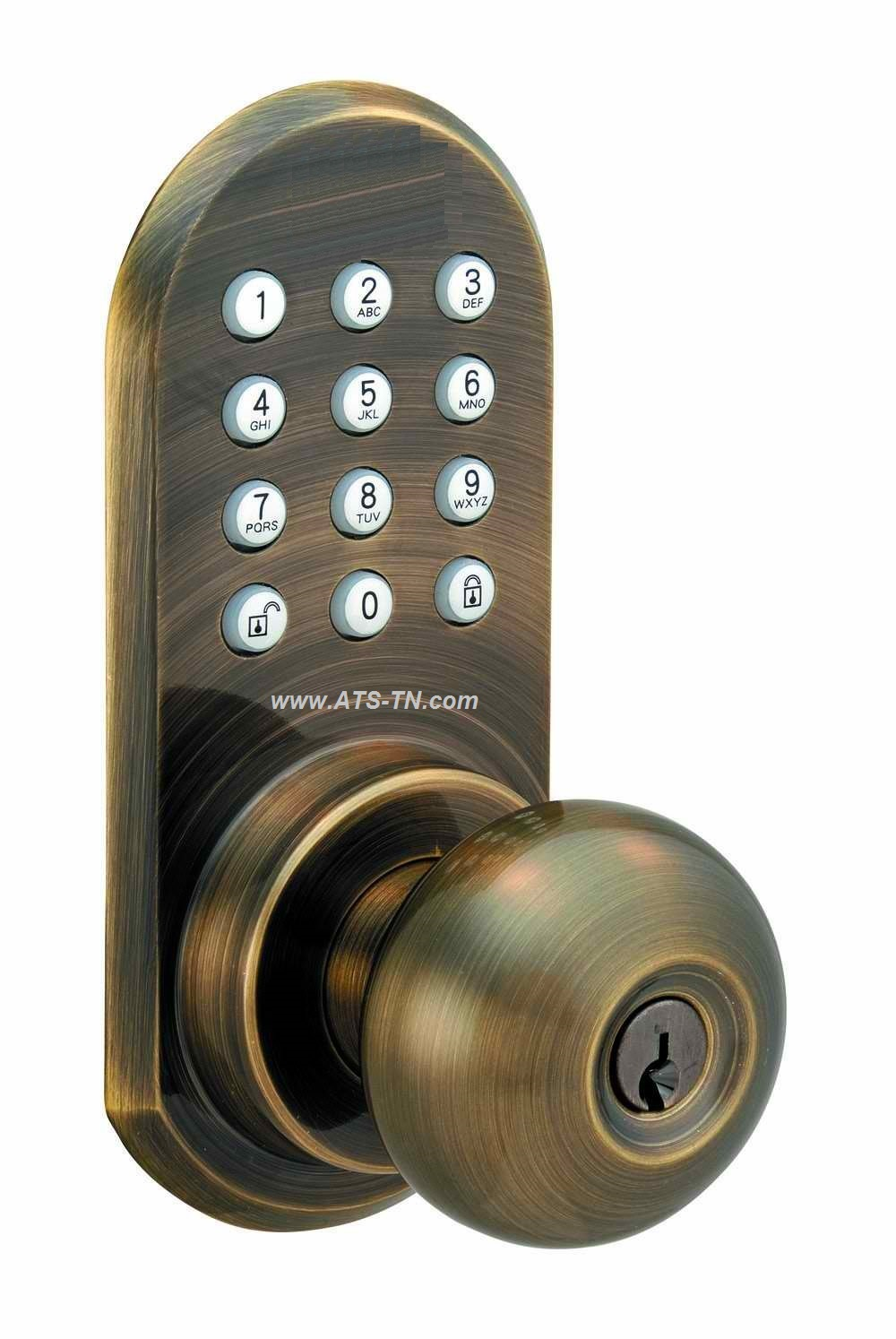 remote controll lock for door brass keypad no batteries
