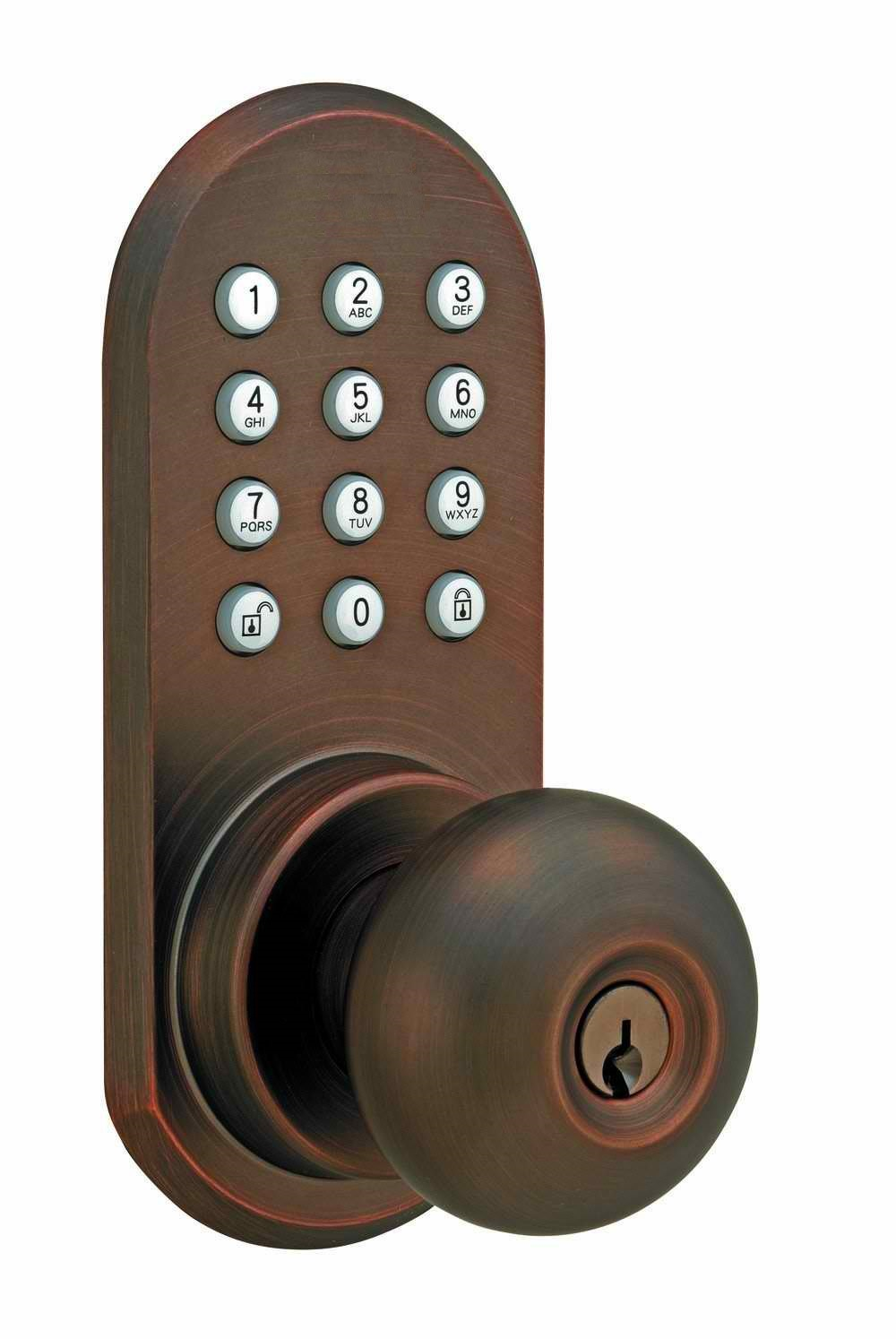 Bronze Keypad Remote Doorlock No Batteries